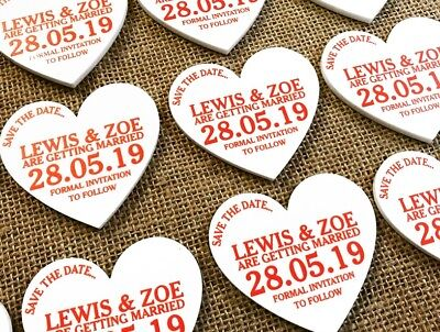 AU18.54 • Buy Personalised Save The Date Heart Fridge Magnets Wedding Choose Your Colour