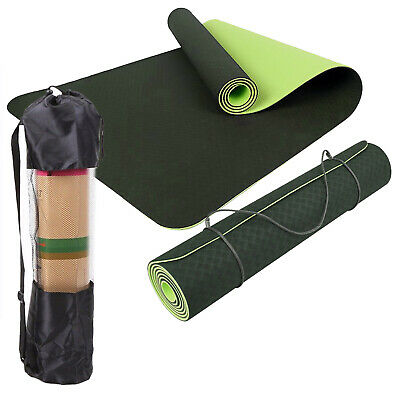 AU331.99 • Buy TPE Yoga Mat Eco Friendly Dual Layer Non Slip WITH Carry Bag&Strap 183 X 61