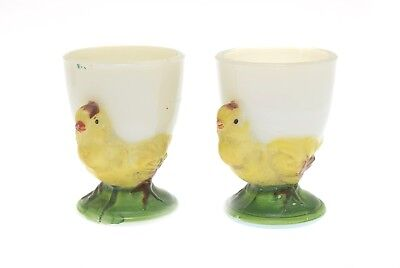 $24.99 • Buy Vintage White Milk Glass Egg Cup W/ Chickens- Set Of 2