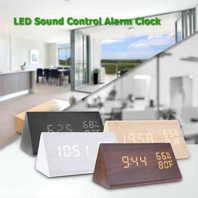 USB Wooden Wood LED Sound Control Desk Alarm Clock Thermometer Timer Calendar  • 17.99£