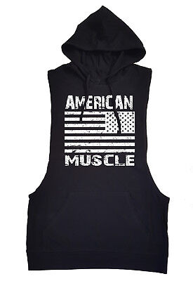 £13.01 • Buy American Muscle Flag Black Tank Top Hoodie Workout Gym Boxing MMA Vest Shirt USA