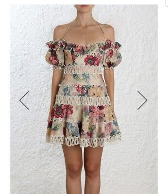 AU600 • Buy Zimmermann Melody Off Shoulder Dress, Size 0 Brand New With Tags