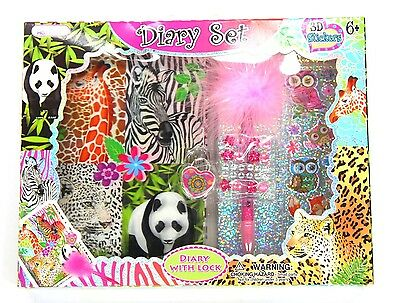 AU12 • Buy Girls Lockable Diary Animals Diary Gift Set - New With Lock Stickers Pen Journal