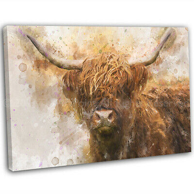 £29.99 • Buy Highland Cow Watercolour Canvas Print Framed Animal Wall Art Picture .3