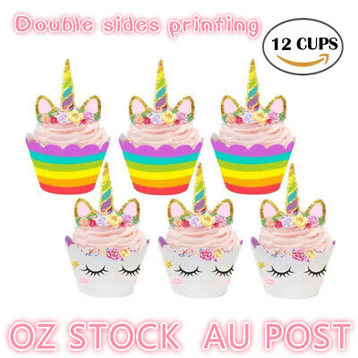 AU6.49 • Buy Unicorn Cupcake Toppers Wrappers 12 Sets Birthday Party Cake Decorations Kids