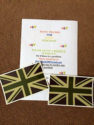 Land Rover  Wolf Wmik Snatch Defender 2x Army Green Union Jack Flag Stickers  • 4.29£