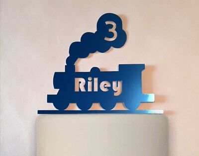 Personalised Train Cake Topper Any Age Name Colour Birthday Glitter Mirror • 5.49£