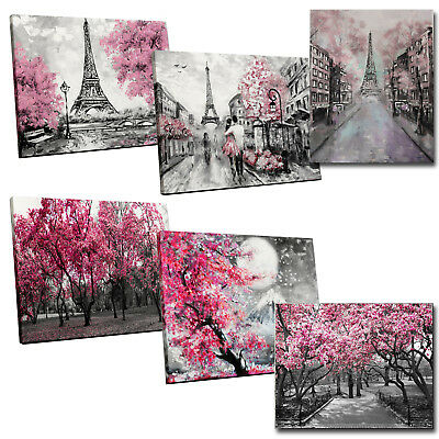 Large Pink Trees Black White Home Decor Nature Framed Canvas Print Wall Art Mult • 25.75£