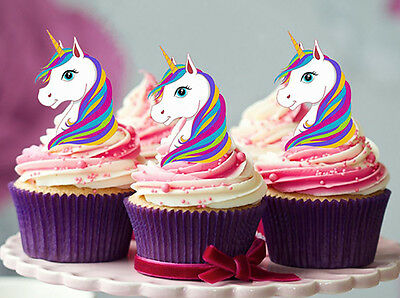 AU10.95 • Buy 24 Stand Up Mini Rainbow Unicorn Edible Cupcake Cake Decoration Images Toppers