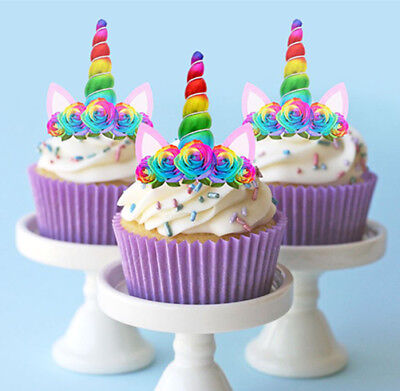 AU8.95 • Buy 🌟 24 Stand Up Mini Unicorn Rainbow Horn Ears Edible Cupcake Cake Images Toppers