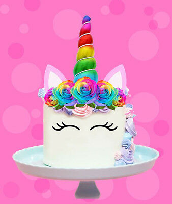 AU12.95 • Buy Rainbow Unicorn Gold Horn Ears Edible Stand Wafer Cake Topper Image Decoration