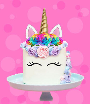 AU12.95 • Buy Rainbow Unicorn Gold Horn Flowers Edible Stand Up Cake Topper Image Decoration
