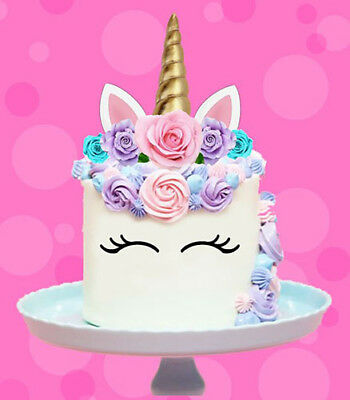 AU12.95 • Buy 🌟 Unicorn Gold Horn Ears Edible Stand Up Cake Topper Image Decoration Birthday