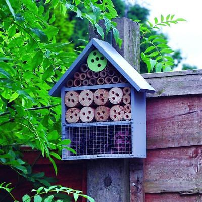 £10.99 • Buy Large Insect Bee House Bug Wooden Hotel Natural Wood Shelter Garden Nest Box NEW