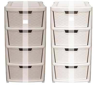 RATTAN Large Plastic 4 Drawer Storage Unit Tall High Tower Drawers Office Home • 129.99£