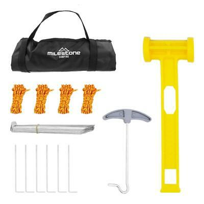 AU30.95 • Buy Milestone Camping Full Tent Accessories Set And Bag Pegs Rope Plastic Mallet