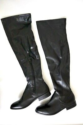 9258e8414de STEVE MADDEN Women Over The Knee Boots Shoes Black Round Toe Pull On With  Zip 7
