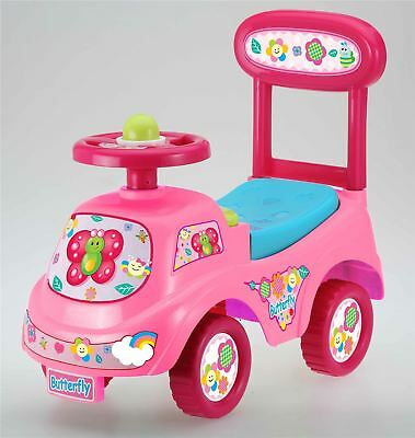 Push Along Sit On Ride On Car Quality Walker Toy Butterfly Theme • 18.95£