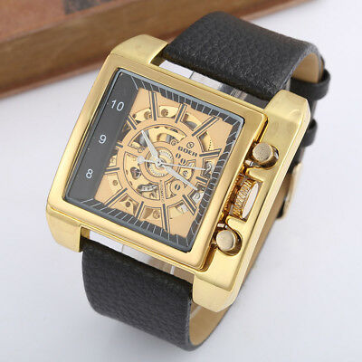 £28.39 • Buy Skeleton Automatic Luxury Mechanical Men Wrist Watch Sports Square Dial Leather