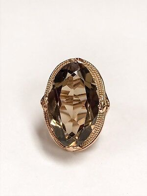 £353.96 • Buy 10K Yellow Gold Cocktail Ring W/ Brown Stone - Size 7