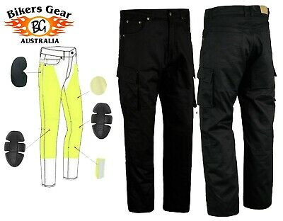 £49 • Buy Australian BG Mens Cargo Motorcycle Motorbike Trousers Jeans Lined With KEVLAR®
