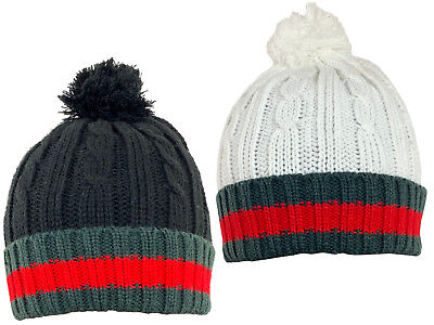 £4.95 • Buy Mens Knitted Winter Cable Knit Design Hat With Bobble Free P&P Green/Red/Stripe
