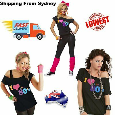 AU18.99 • Buy I Love The 80's 80s T-shirt Costume Ladies 1980s Fancy Dress Girls Top T Shirt