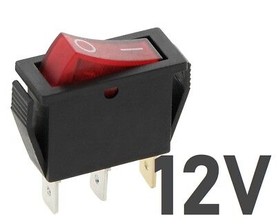 12V 20A SLIM Rocker Switch RED ON-OFF Double Pole 3 Pin  ILLUMINATED  • 3.49£