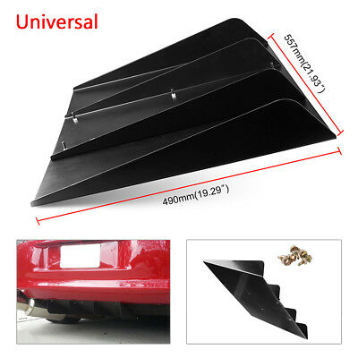 """$73.14 • Buy Universal 21.93""""x19.29  Rear Bumper 4 Diffuser Fin With Screws ABS Accossories"""