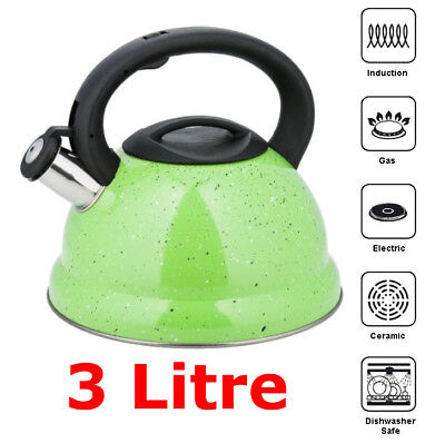 GREEN Marble-Whistling Kettle 3 L Stainless Steel INDUCTION / GAS / STOVE TOP • 14.99£