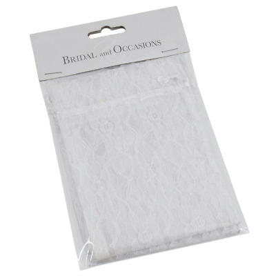 3 White Lace Favour Bags 15 X 10cm - Wedding Jewellery Craft Gift Sweet Favour • 2.49£