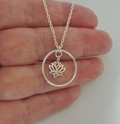$ CDN28.31 • Buy Lotus Flower Circle Karma Infinity Friendship Necklace 925 Sterling Silver