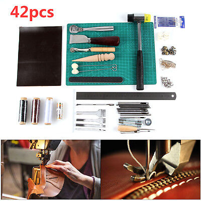 42 Leather Craft Punch Tools Kit Stitching Carving Working Sewing Saddle Groover • 17.99£