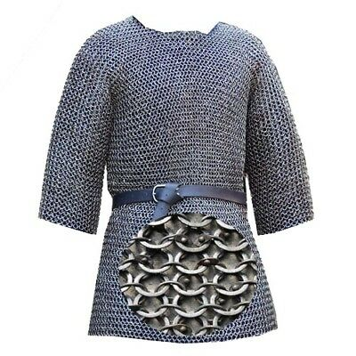 6 Mm Chain Mail Mild Steel Half Sleeve Round Riveted Soiled Ring Medieval M Size • 199.99£