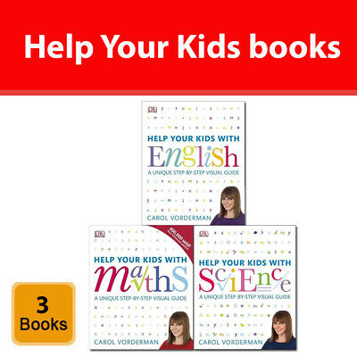 Carol Vorderman Help Your Kids 3 Books Collection Set With English,Maths,Science • 39.99£