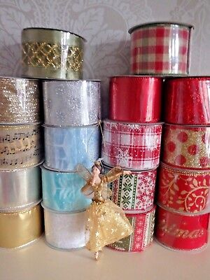 , Gisela Graham Christmas Ribbon Wide Wired Edge All Lengths Gift Wrap Present • 2.30£