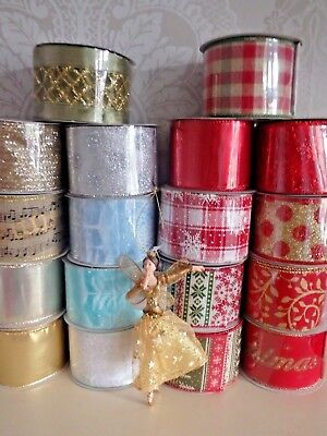 Gisela Graham Christmas Ribbon Wide Wired Edge All Lengths Gift Wrap Present • 2.30£