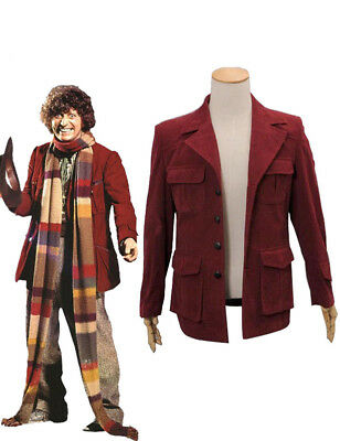 Doctor Who Fourth 4th Doctor Cosplay Costume Dark Red Corduroy Jacket Men Coat M • 47£