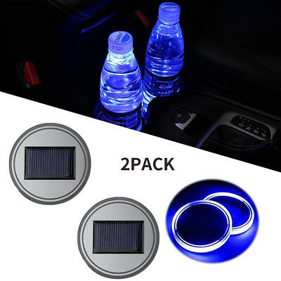 $9.99 • Buy 2PC Solar Cup Pad Car Accessories LED Light Cover Interior Decoration Lights
