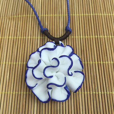 $ CDN5.69 • Buy Porcelain National Chinese Ceramic China Lotus Flower Pendant Necklace Jewelry