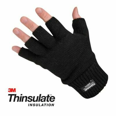 £4.95 • Buy Mens Ladies THERMAL THINSULATE FINGERLESS GLOVES Knitted Wooly 3M Black