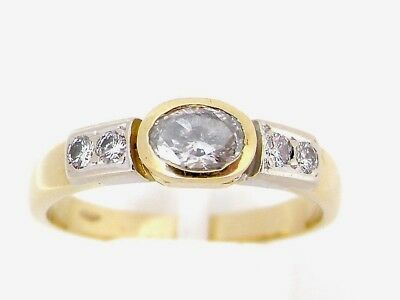 18ct Gold Oval Solitaire 0.50ct Diamond Ring With Accents Size J 1/2 • 650£