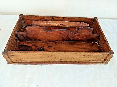$ CDN148.87 • Buy Gorgeous Antique 1800s Divided Primitive Cutlery Tray Box 11 1/2  By 7 3/4