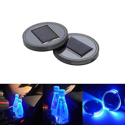$11.99 • Buy 2PC Solar Cup Pad Car Accessories LED Light Cover Interior Decoration Lights USA