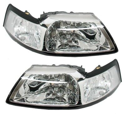 $75 • Buy Fit 99-04 Ford Mustang Chrome Clear Headlights NIB PAIR