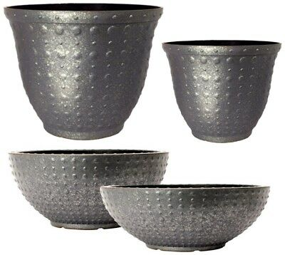 Galvanised Hobnail Small Large Plant Pots Round Plastic Planters Outdoor Garden • 15.99£