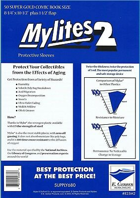 $23.49 • Buy 50 Mylites2 SUPER GOLD 2 Mil Archival Mylar Comic Bag Sleeves By E. Gerber 825M2
