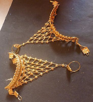22K Gold Plated Indian One Ring Two Pieces Haat Panja Hand Jewelry Bracelet .. • 18.99£