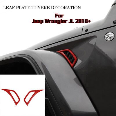 $13.99 • Buy Pair Red Car Leaf Plate Air Inlet Trim Cover Decor For 2018 Jeep Wrangler JL ABS