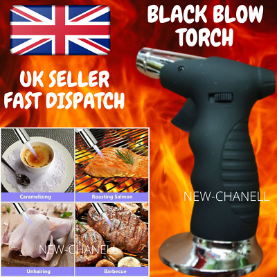 Black Kitchen Blow Torch Butane Gas Mini Micro Wireless Cook Soldering • 9.99£